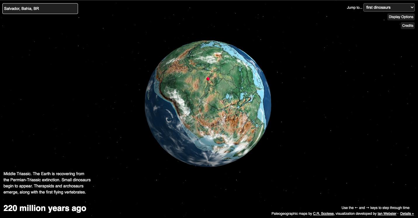 Salvador há 220 milhões de anos atrás, quando os dinossauros começaram a surgir (Foto: Reprodução)