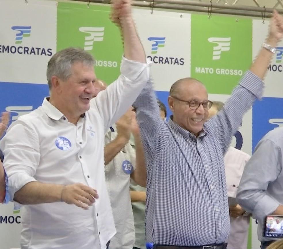 Democratas lançou Júlio Campos para o Senado e ele terá como suplente o deputado Dilmar Dal Bosco — Foto: TVCA/Reprodução