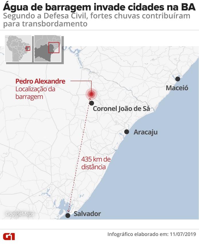 Cidades são invadidas pela água após barragem transbordar na Bahia — Foto: Arte/ G1