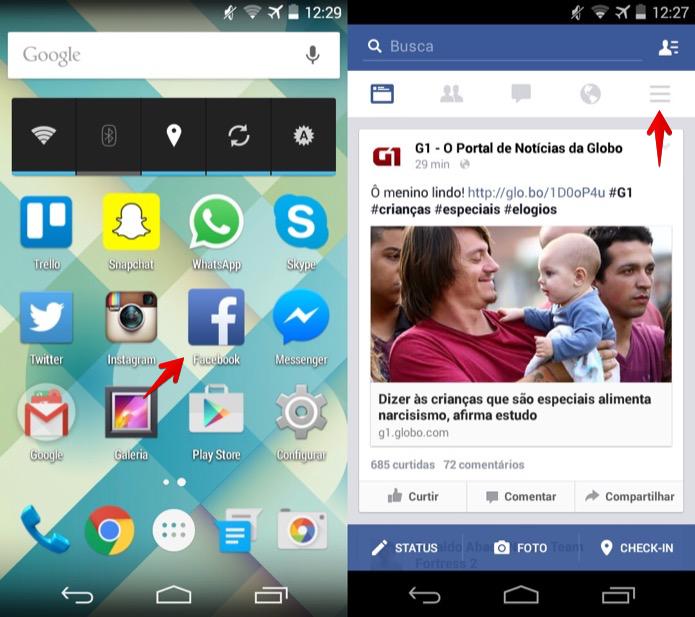Abra o aplicativo do Facebook no Android (Foto: Reprodução/Helito Bijora)