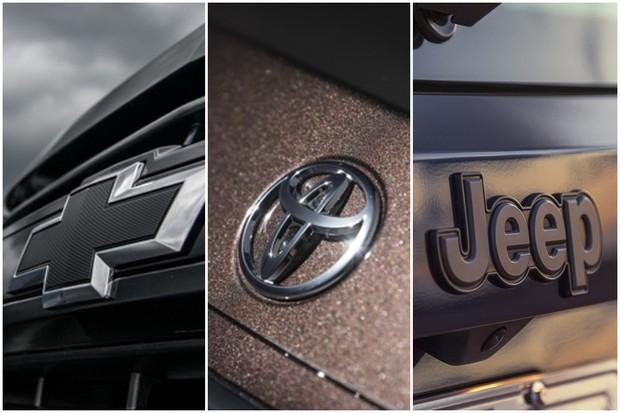 Logos GM, Toyota e Jeep (Foto: Montagem/Autoesporte)