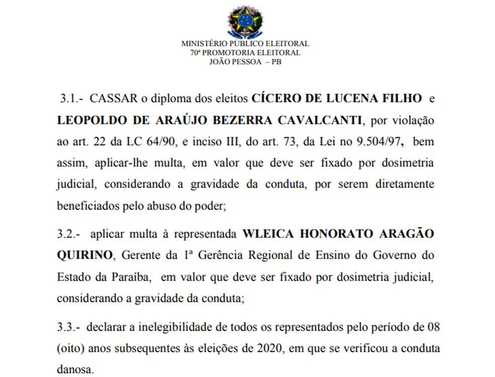 MP pede cassação de Cícero Lucena por uso de servidores da rede estadual da PB em campanha para prefeito — Foto: Reprodução/MPE