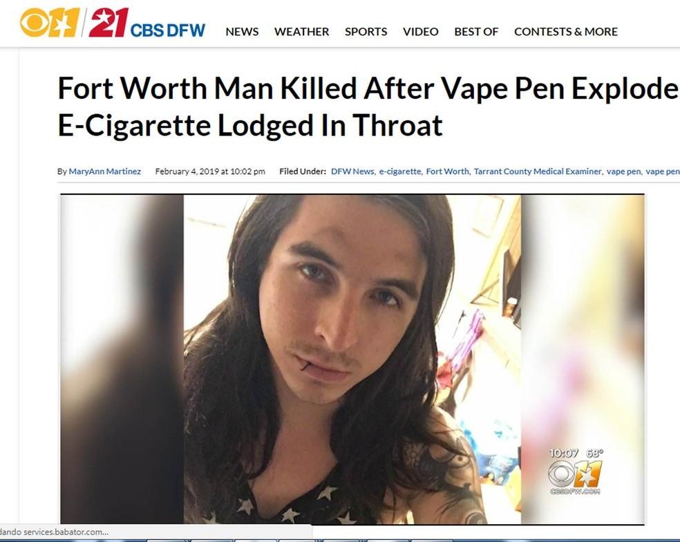 William Brown morreu dois dias após cigarro eletrônico explodir em seu rosto — Foto: Reprodução/CBS