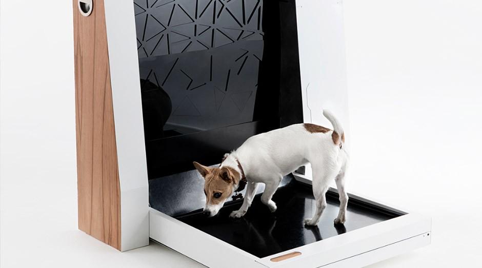A máquina recolhe automaticamente fezes e urina de cachorro. (Foto: Divulgação)