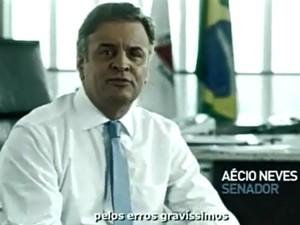 Presidente do PSDB, senador Aécio Neves (MG), durante programa de propaganda partidária na TV (Foto: Reprodução)
