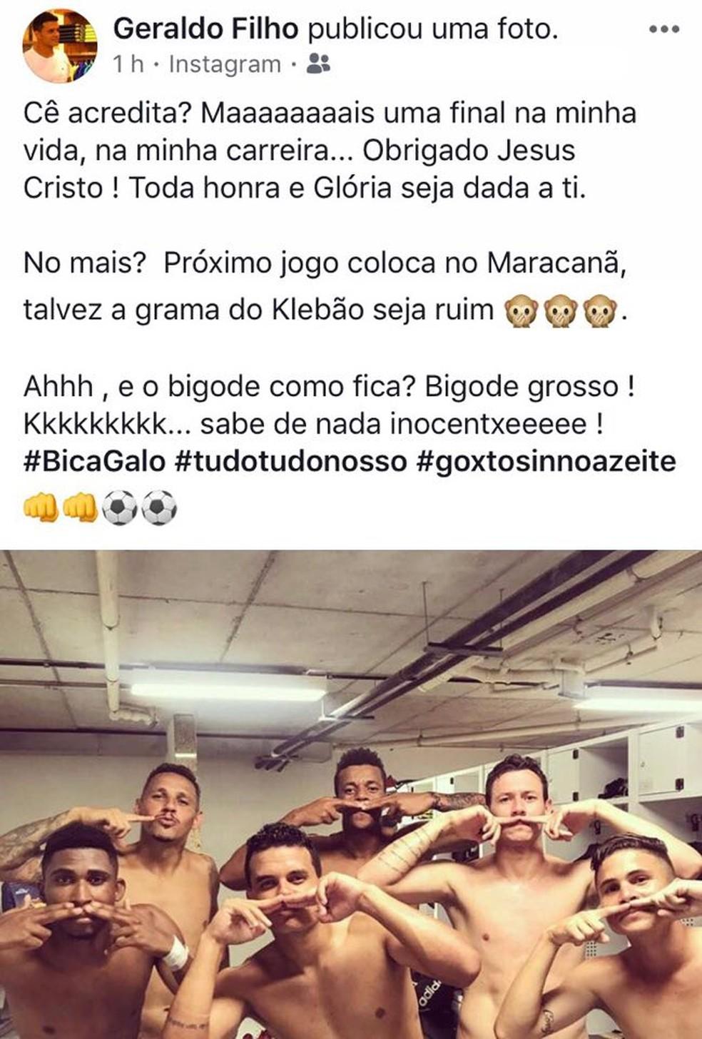 Jogadores do Atlético-ES provocam Rio Branco-ES após classificação para final da Copa Espírito Santo (Foto: Reprodução Facebook)