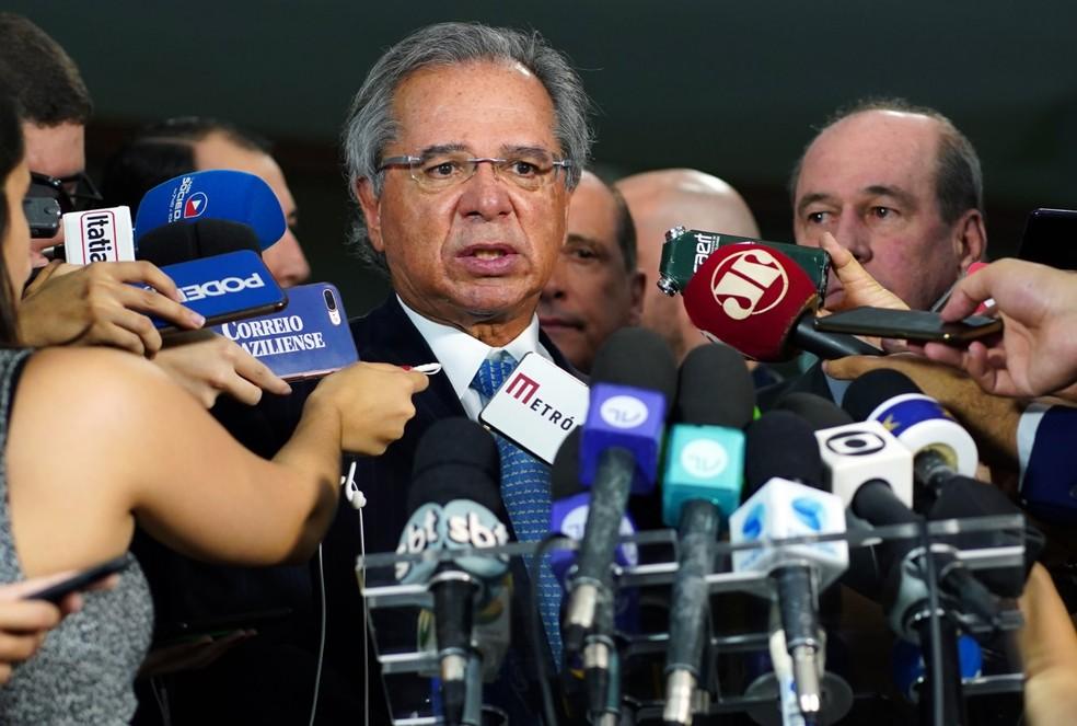 Ministro Paulo Guedes (Economia) explica proposta sobre militares — Foto: Will Shutter/Câmara dos Deputados