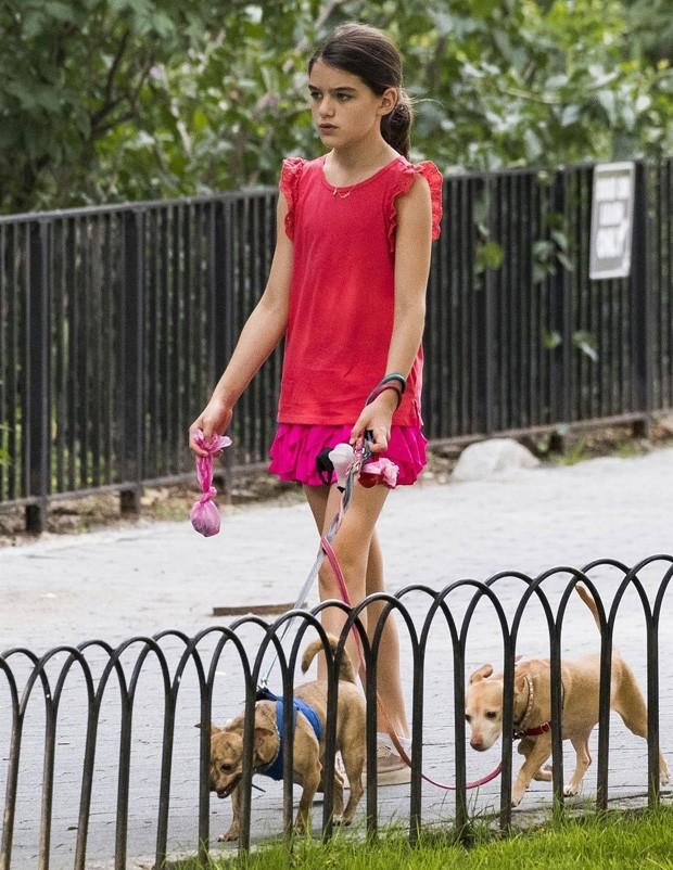 Suri Cruise recolhe cocô de cachorros durante passeio (Foto: BackGrid)