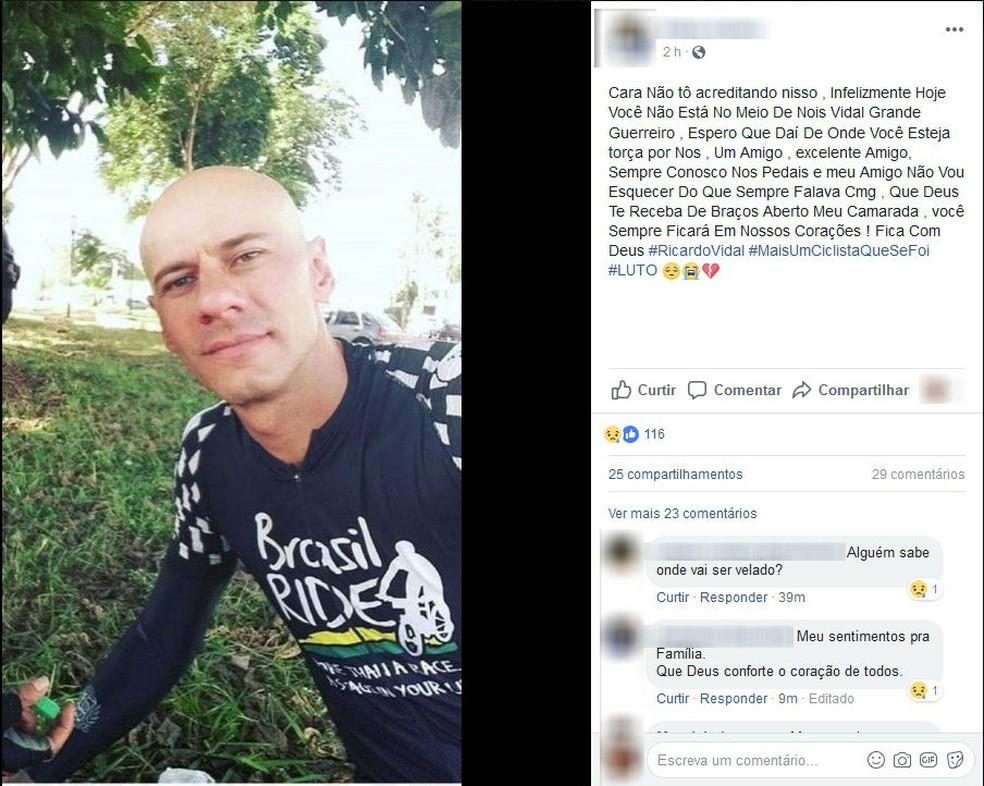 Ricardo Vital estava pedalando em rodovia de SP quando foi atropelado e morreu (Foto: Reprodução/Facebook)