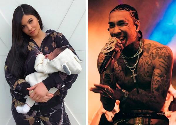 A socialite Kylie Jenner com a filha no colo e o ex-namorado da celebridade, o rapper Tyga (Foto: Instagram)