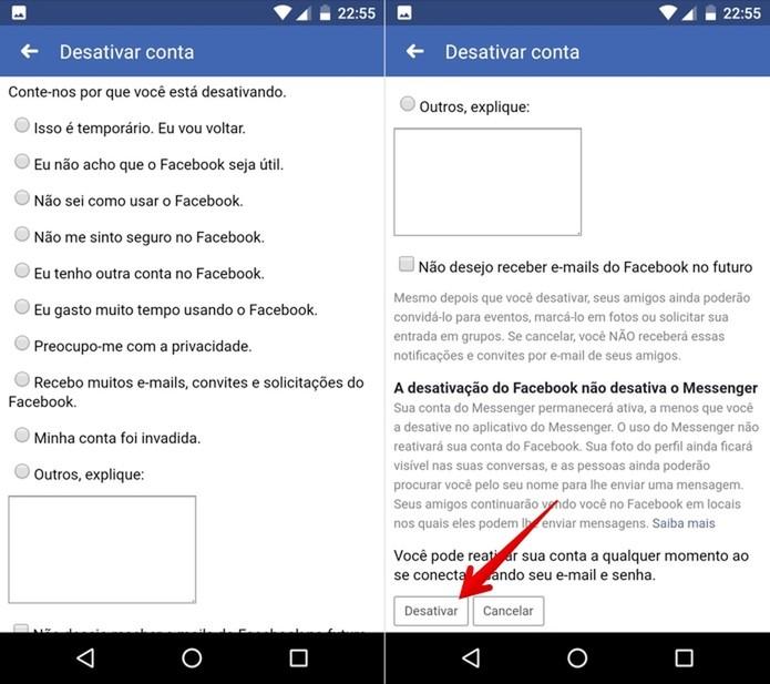 Confirme a sua senha para desativar a conta do Facebook (Foto: Reprodução/Helito Beggiora)