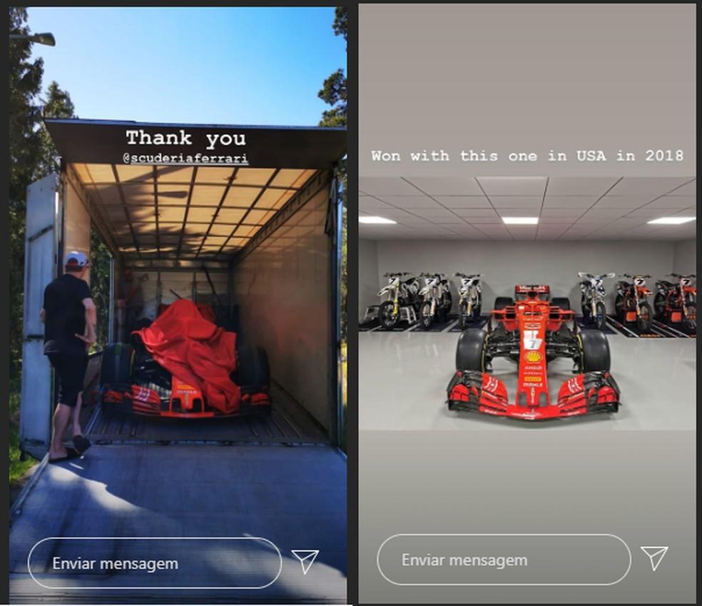 Kimi Raikkonen ganha Ferrari de presente — Foto: Reprodução Instagram
