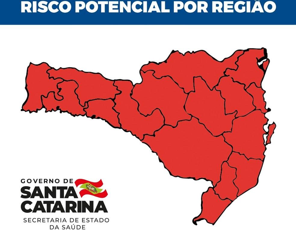 Matriz de risco em SC no dia 12 de junho de 2021 — Foto: SES/Divulgação