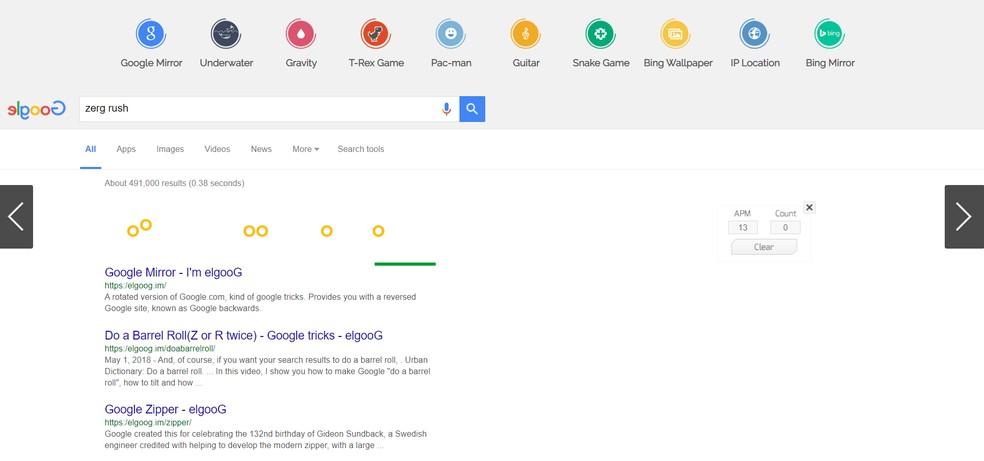 Easter egg do Google faz página de pesquisa se transformar no jogo Zerg Rush — Foto: Reprodução/Google