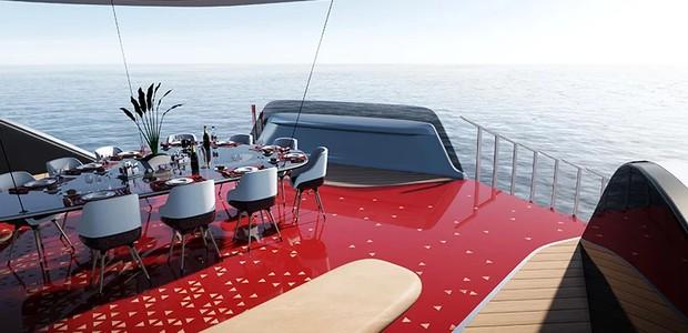 O piso colorido conversa com uma inspiração central para o desenho do barco: um tapete vermelho (Foto: Technicon/ Reprodução)