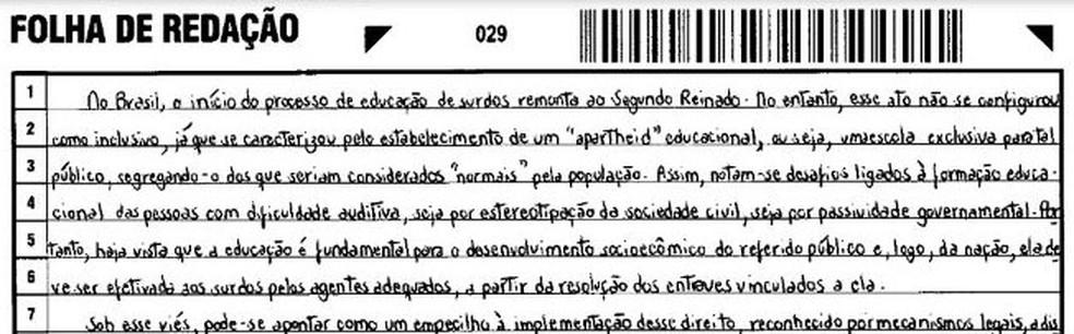 Trecho da redação de Marcus Vinícius Monteiro de Oliveira  (Foto: Reprodução)