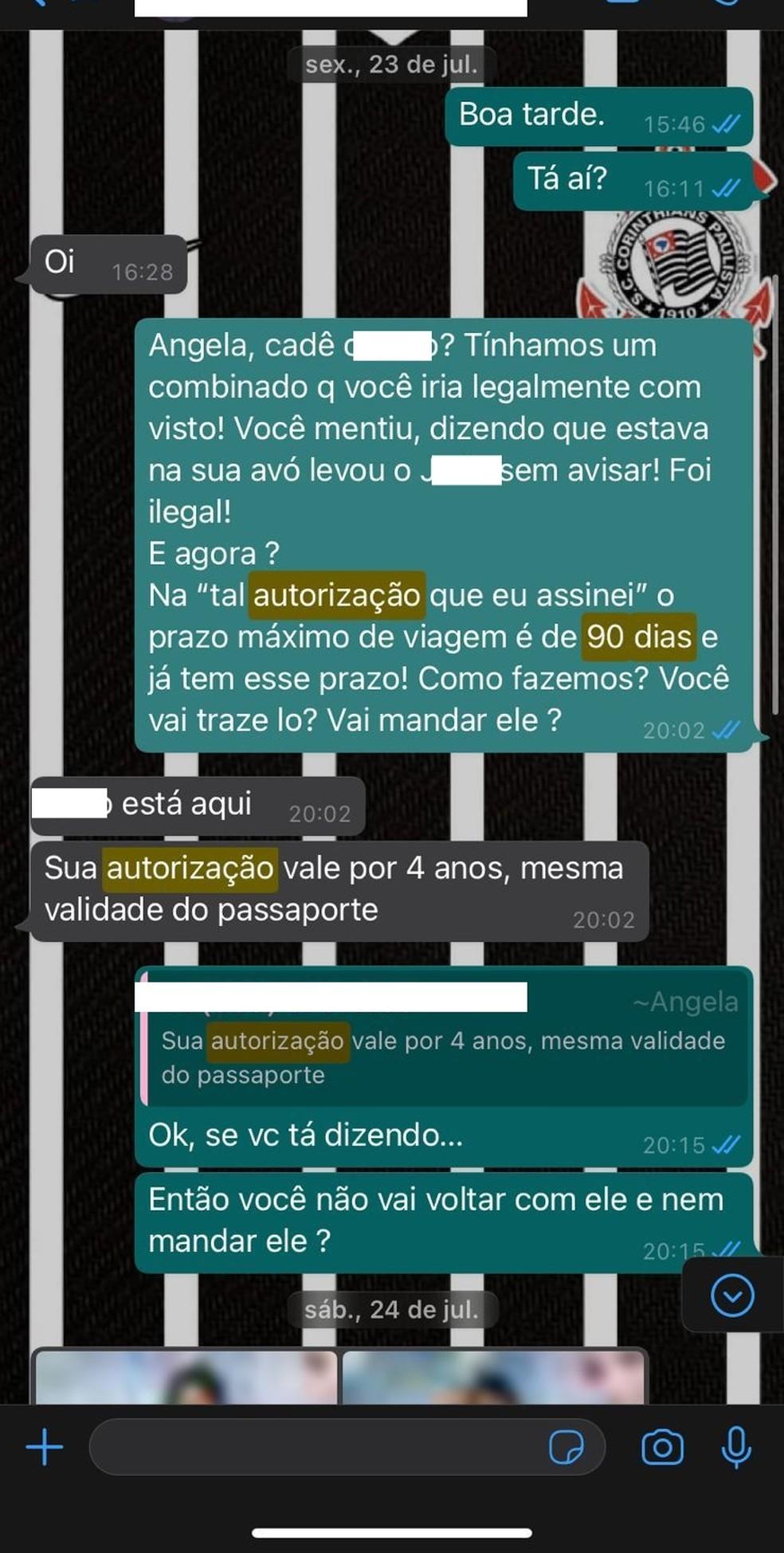 Conversa de WhatsApp entre Álefe e Ângela. — Foto: Álefe Freitas/Arquivo Pessoal