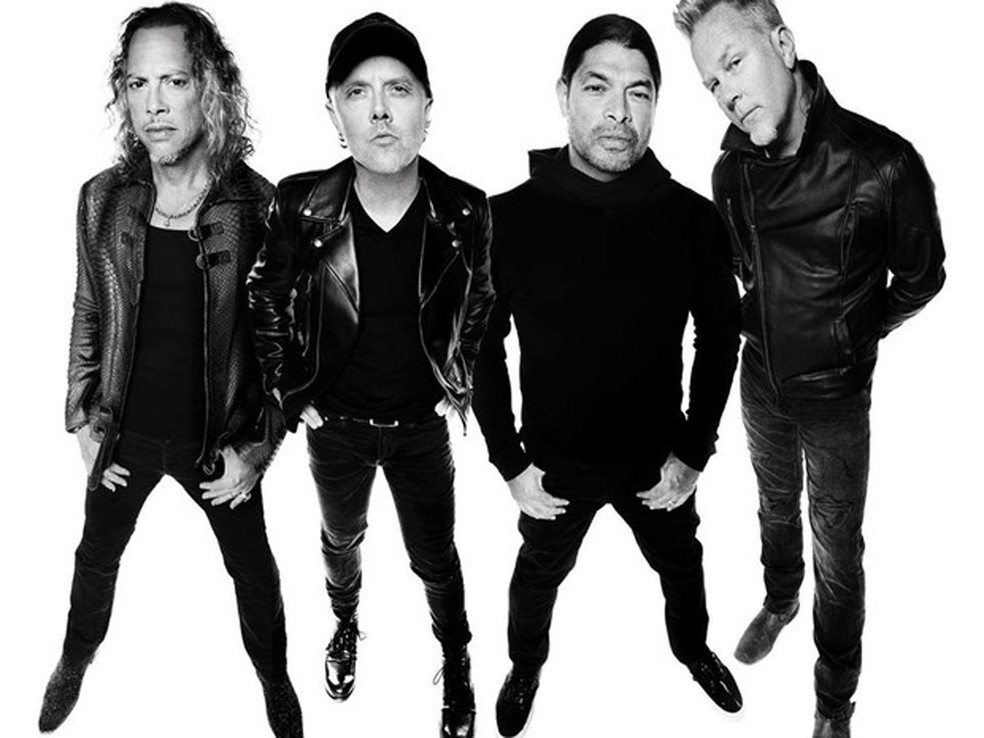 -  Os integrantes do Metallica; a partir da esquerda: Kirk Hammett, Lars Ulrich, Robert Trulillo e James Hetfield  Foto: Divulgação
