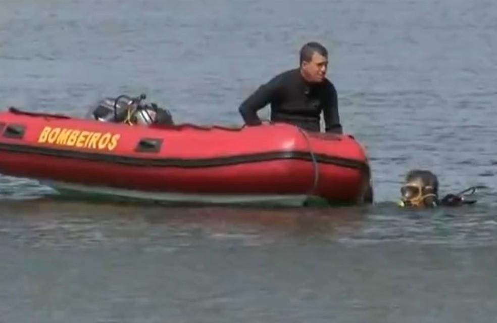 Bombeiros usam equipamentos de mergulho nos trabalhos de buscas — Foto: TV TEM/Reprodução