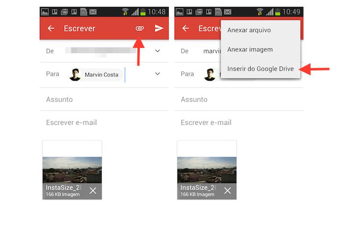 Acessando o Google Drive através de uma nova mensagem do Gmail para Android para anexar arquivos da nuvem (Foto: Reprodução/Marvin Costa)