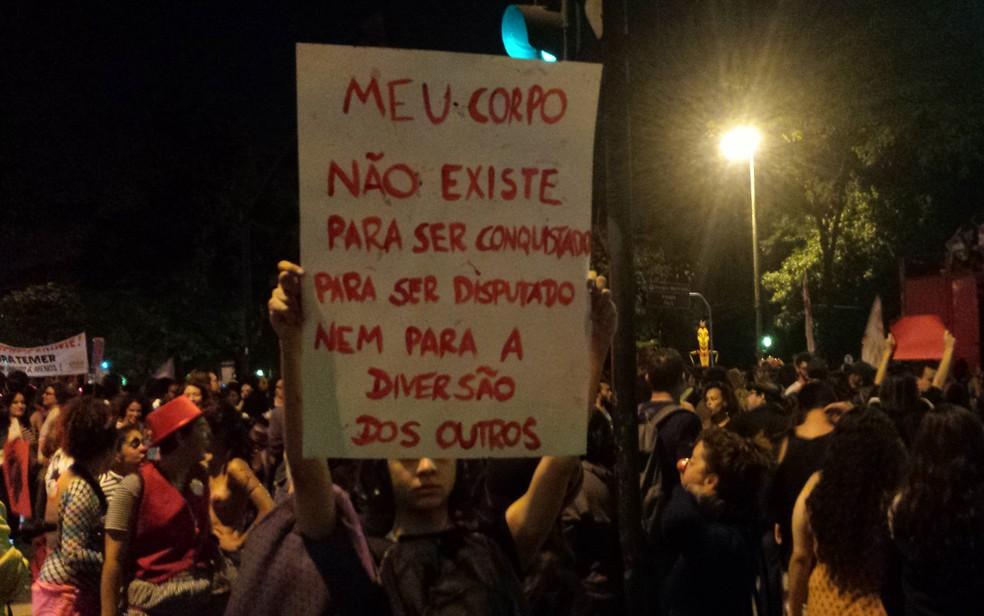 Em 2016, mulheres protestaram em BH após estupro coletivo que chocou o país, no Rio de Janeiro (Foto: Humberto Trajano/G1)