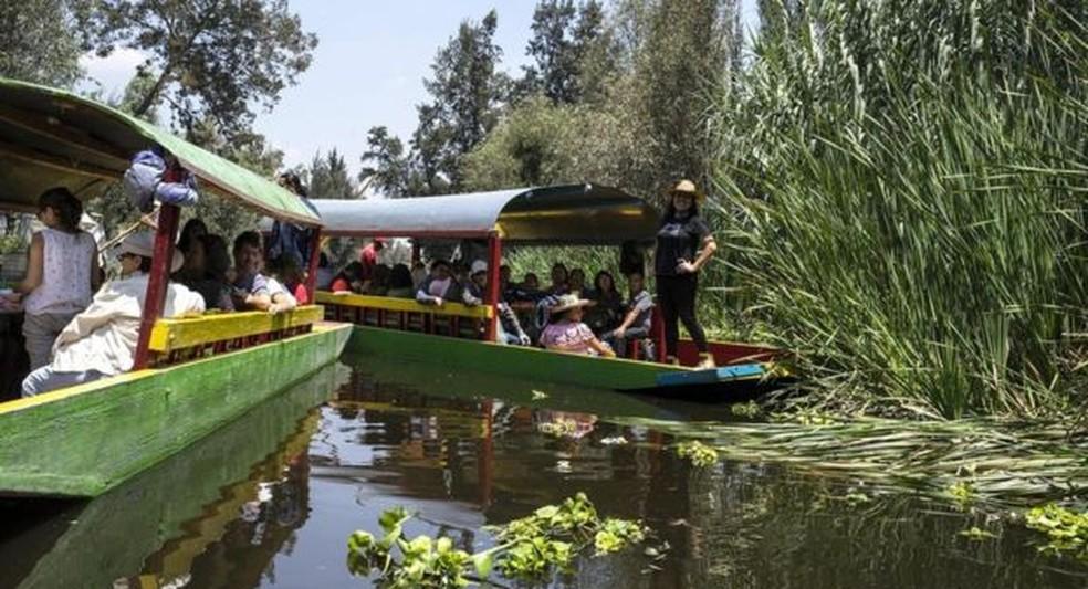 Nos canais de Xochimilco, uma das atrações é o passeio nas icônicas traineiras coloridas — Foto: Megan Frye/BBC