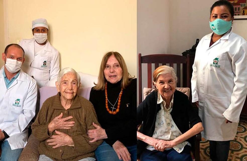 Dirce, de 100 anos (à esq.) e Myrtes, de 96 anos (à dir.), se recuperaram da Covid-19 em Corumbá (MS) — Foto: Prefeitura de Corumbá/Divulgação