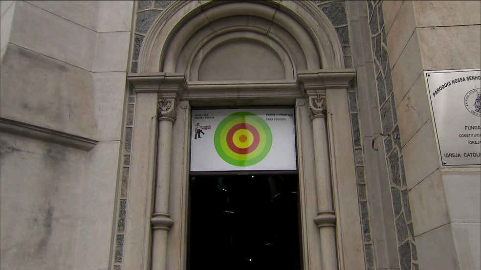 Painel hipnótico instalado na Igreja da Consolação (Foto: Reprodução/TV Globo)