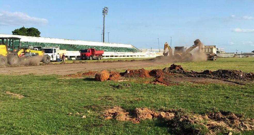 Estádio Barretão em Lagarto passa por reforma (Foto: Ascom/LFC)