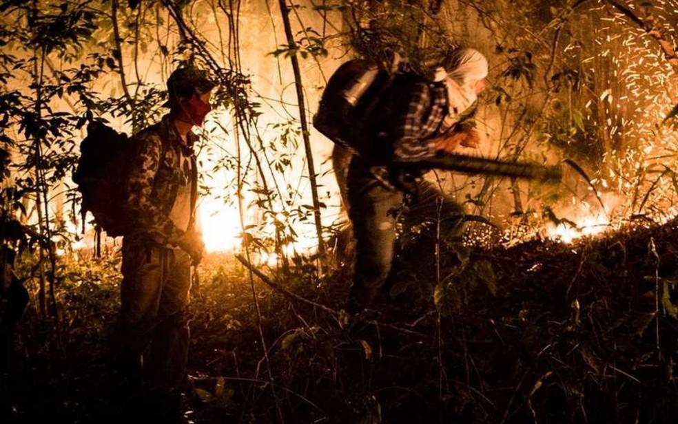 Voluntários e bombeiros combatem incêndio na Chapada dos Veadeiros (Foto: Davi Boarato/BBC Brasil)