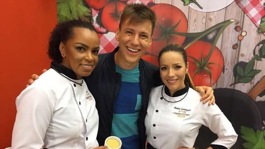 Fofão e Renata Dominguez vão à caça da farofa nos bastidores do 'Super Chef'