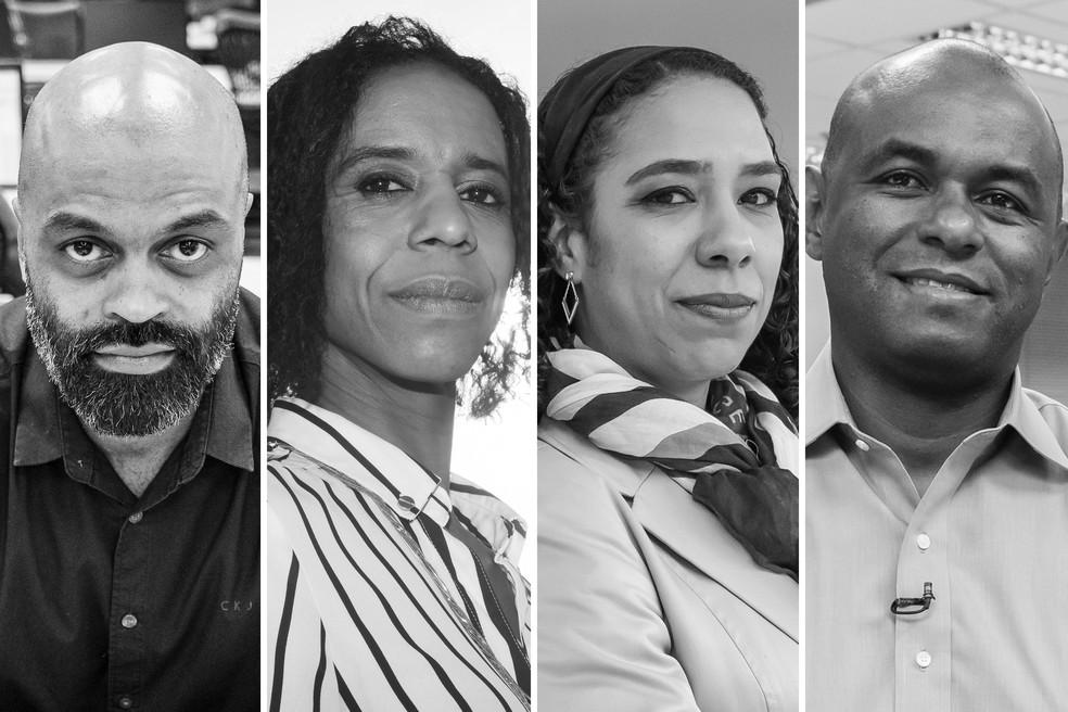 Marcelo Leal, Solange Sobral, Roberta Anchieta e Maurício Rodrigues: profissionais negros em cargos de destaque — Foto: Fábio Tito e Celso Tavares/G1