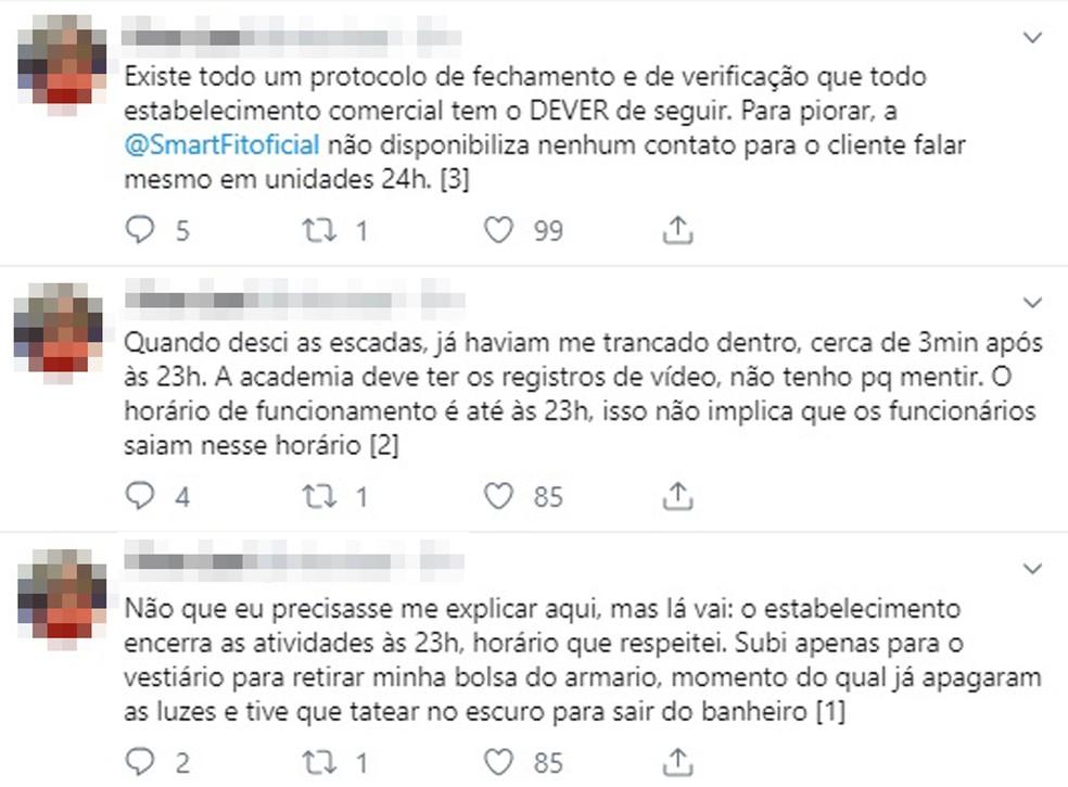 Homem relata nas redes sociais o ocorrido na academia Smart Fit, no Centro de São Paulo, na madrugada desta quarta-feira (9) — Foto: Reprodução/Redes Sociais