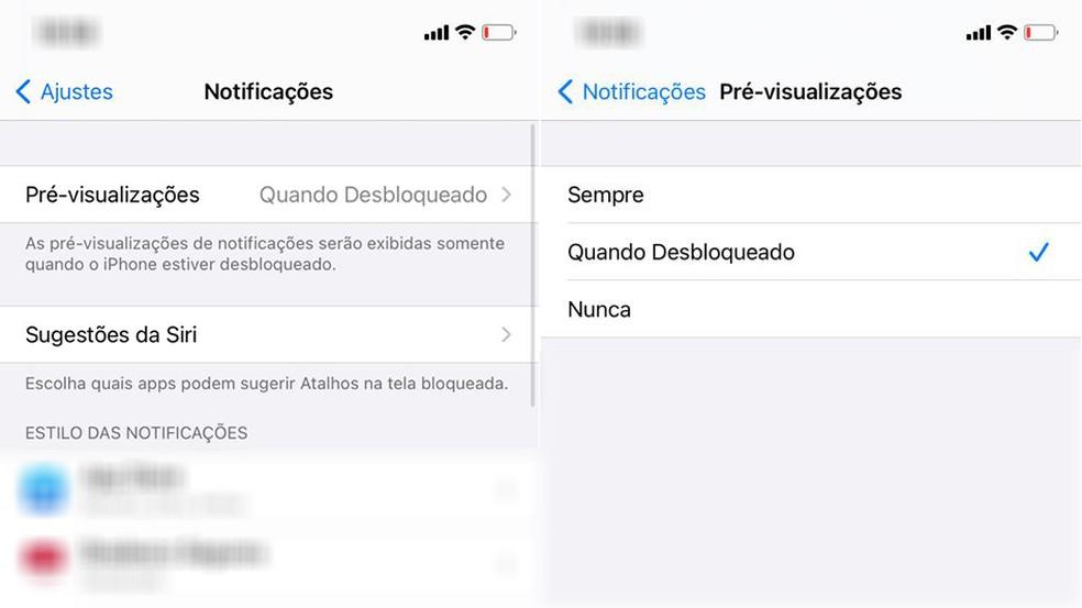 """iPhone permite configurar notificações em """"Ajustes"""" — Foto: Reprodução"""