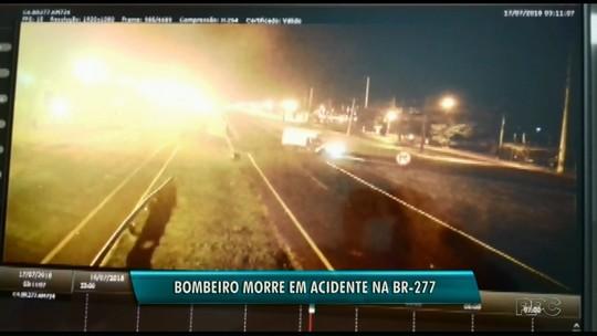 Bombeiro morre em acidente entre moto e caminhão na BR-277 em Foz do Iguaçu