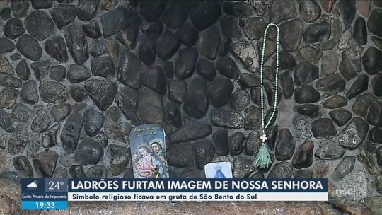 Imagem de Nossa Senhora de Lourdes é furtada de gruta em São Bento do Sul