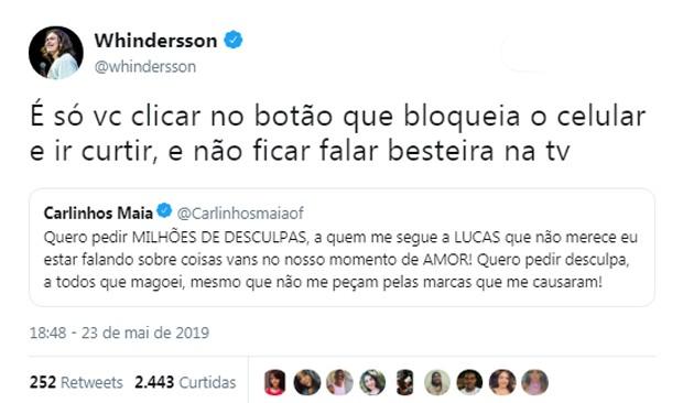 Whindersson Nunes rebate Carlinhos Maia (Foto: Reprodução/Twitter)