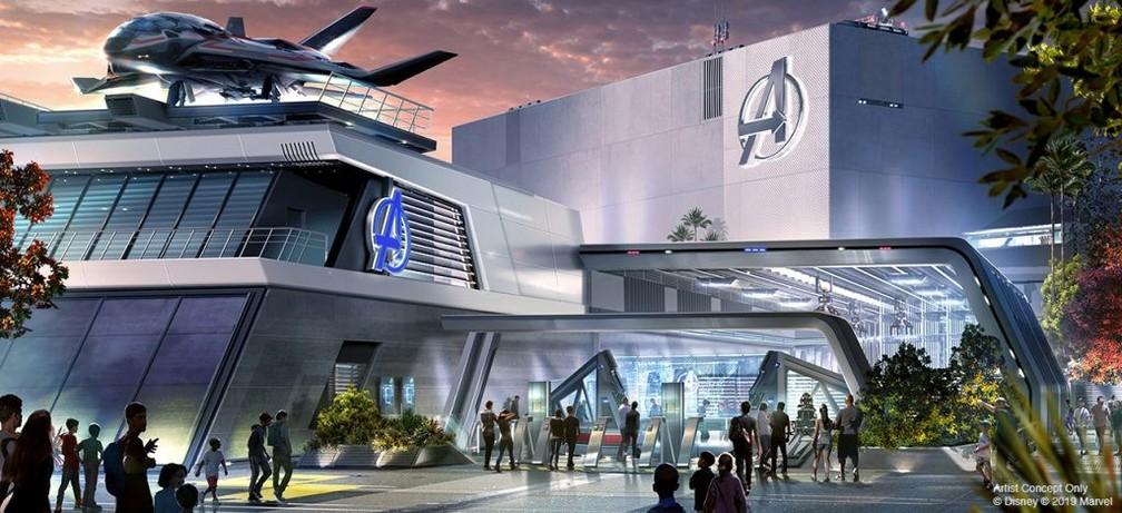 Localizado dentro do Disneyland Resort, na Califórnia, o Avengers Campus será uma representação fiel ao universo dos heróis da Marvel — Foto: Divulgação Disney