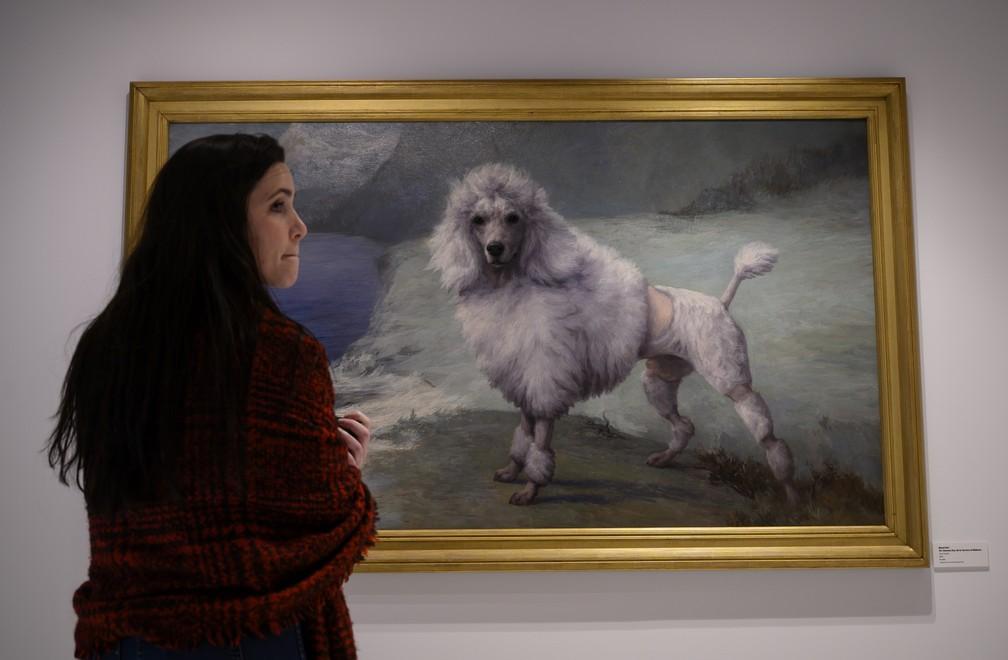 Quadro exposto no Museu Americano do Cachorro em Nova York — Foto: Johannes EISELE / AFP