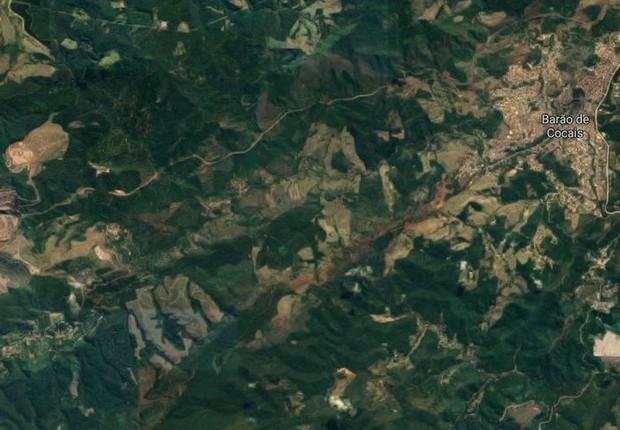 Mapa mostra a região da barragem da Mina de Gongo Soco, da Vale, em Barão dos Cocais (MG) (Foto: Reprodução Google Maps/Agência Brasil)