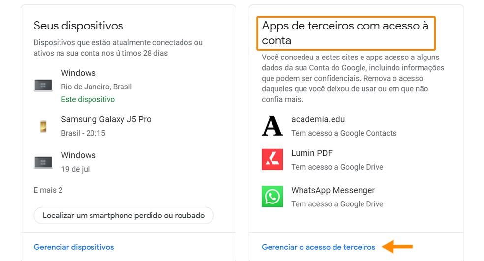 Gerencie o acesso de aplicativos à conta — Foto: Reprodução/Ana Letícia Loubak