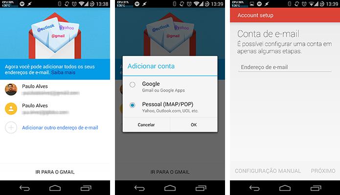 Gmail 5.0 suporta contas de e-mail de terceiros (Foto: Reprodução/Paulo Alves)