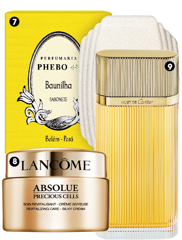 7. Sabonete Baunilha, Phebo, R$ 16  8. Creme Revitalizante Absolue Cells, Lancôme, R$ 1.099  9. Perfume Must Gold, Cartier, R$ 848 (100 ml) (Foto: Divulgação)