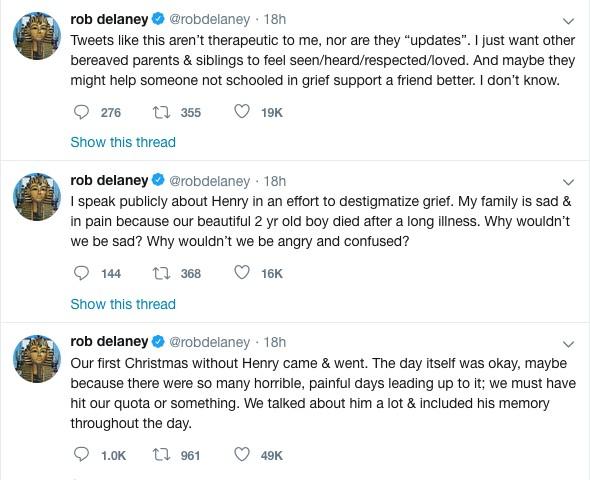 Os lamentos do ator Rob Delaney em relação ao primeiro Natal sem o filho que morreu em janeiro de 2018 (Foto: Twitter)