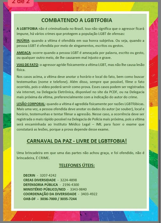 Cartilha da Decrin do DF para orientar público LGBTI sobre denúncias durante carnaval de 2018 — Foto: Polícia Civil/Divulgação
