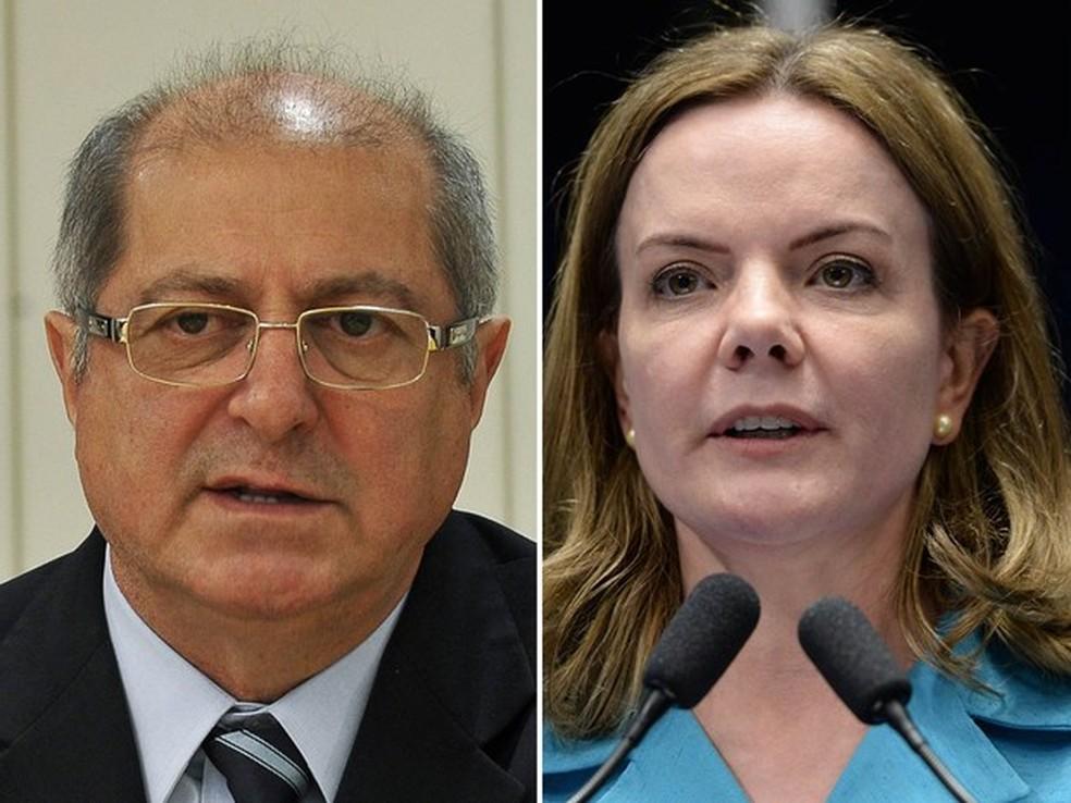 O ex-ministro do Planejamento Paulo Bernardo e a senadora Gleisi Hoffman (PT-PR) (Foto: Valter Campanato/Agência Brasil; Jefferson Rudy/Agência Senado)