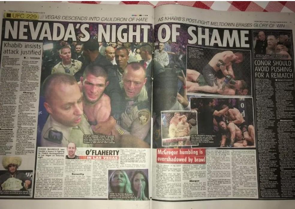 Páginas internas da seção de esportes do Irish Daily Star — Foto: Reprodução/MMA Fighting
