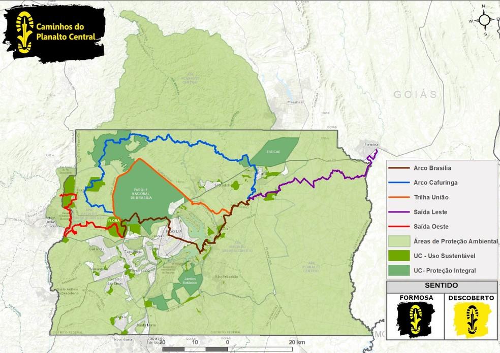 Trilhas mapeadas pelo projeto Caminhos do Planalto Central — Foto: Divulgação
