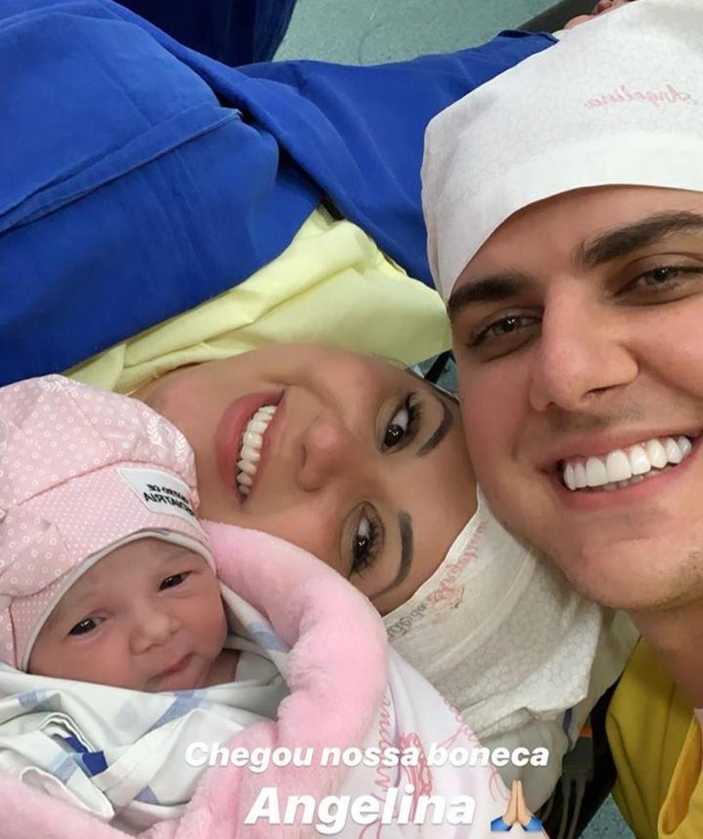 Filha de Zé Neto e Natália Toscano nasceu nesta terça-feira (19) — Foto: Reprodução