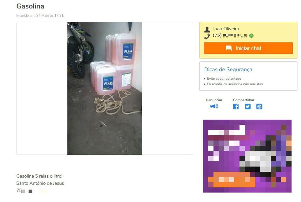 Anunciante que diz ser de Santo Antônio de Jesus vende litro de gasolina por R$ 5 na internet (Foto: Reprodução/Site OLX)